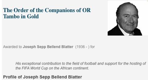 Blatter called Bellend by SA Gov