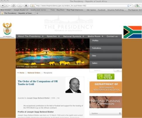 Sepp Blatter SA Gov website