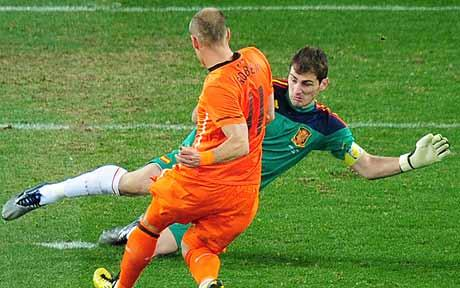 Iker Casillas saves against Robben