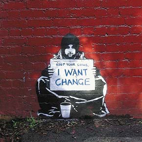 Banksy Beggar i want change