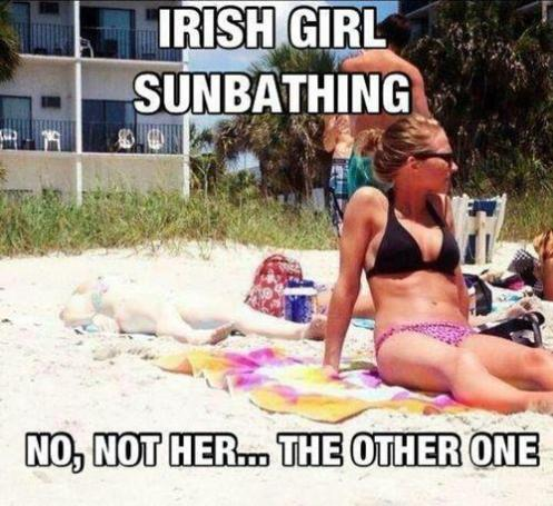 Irish girl sunbathing